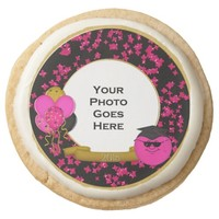 2015 Grad Smiley Frame, Pink Shortbread Cookies Round Premium Shortbread Cookie