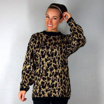 Leopard Print Fall Sweater made with sparkle Lurex - One Size - Vintage Sweater