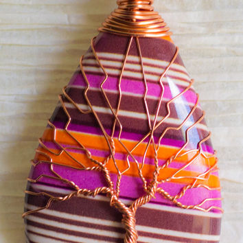 Tree of Life copper wire wrapped Orange and Purple pendant