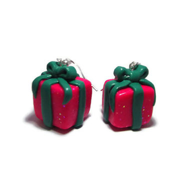 Christmas Wrapped Present w/ Bow Polymer Clay Christmas Earrings, Silver Toned, Silver Plated, 22k Gold Plated, Holiday Gift Box Jewelry