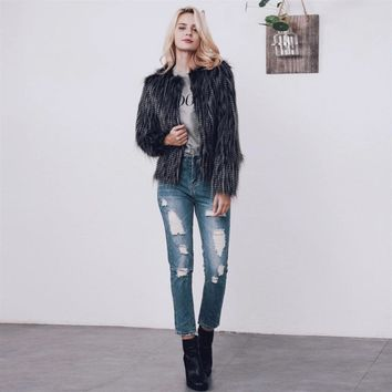 Fashion Faux Fur Coat High-grade Elegant Women Shaggy Coat Long Sleeve Fluffy Faux Fur Veste  kamizelka futro Female Outerwear
