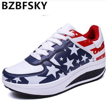 Women Summer Platform Sneakers Wedges Creepers Lace Up Trainers England Flag Basket Femme Causal Shoes Chaussure Femme