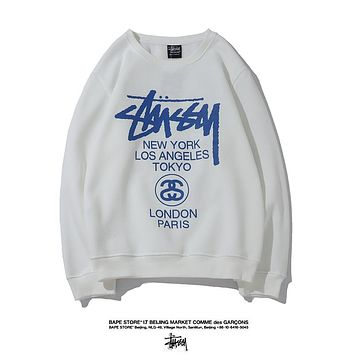 Stussy Fashion New  Letter Print Women Men Leisure Long Sleeve Top Sweater White