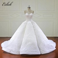 Eslieb Elegant Ball Gown Wedding Dress 2018 Sweetheart Royal Train Lace Bridal Gowns Dubai Arabic Vestido De Noiva