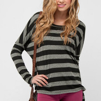 Boxy Striped Pocket Top in Black :: tobi