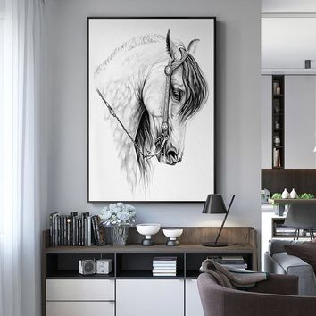 Nodic Style Canvas Painting Horse Posters And Prints Wall Art Pictures For Living Room Modern White Black Home Decor ZY056