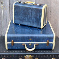 Navy Blue Overnight Suitcase Samsonite Vintage Luggage Small Train Case Cosmetic Case Photo Prop Travel Storage 1950's