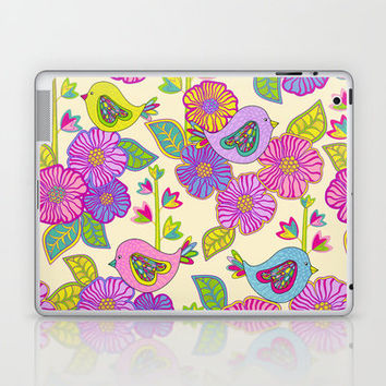 """""""My birds and my flowers"""" Laptop & iPad Skin by Juliagrifol designs"""