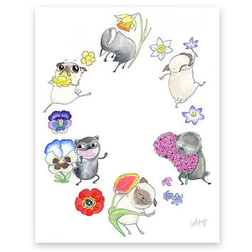 Flower Pugs Art Print - Joyful Pug Dog Illustration in watercolor - Colorful, Happy Pugs Dancing in the Flower Garden Pug Art by InkPug!
