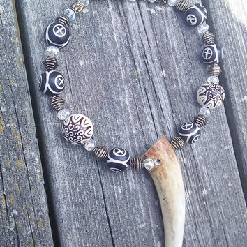 Real Elk Antler Necklace, Men's Bone Necklace, Bone Jewelry, Shaman Warrior Jewelry, Gypsy Necklace, Larp Cosplay Costume, Real Animal Bone