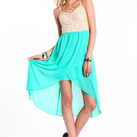 LACE CONTRAST HI LO DRESS