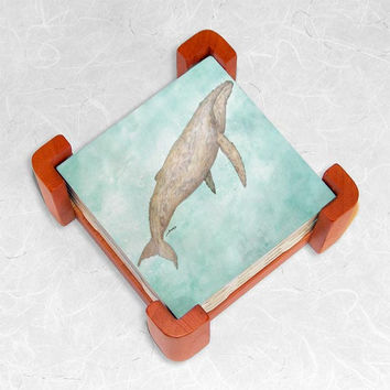 Ceramic Tiles in Cherry Wood Coaster Set featuring The Lone Leviathan Watercolor
