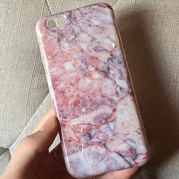 Womens Pink Marble iPhone 6 6s Plus Case iPhone 7 7 Plus case +Free Necklace
