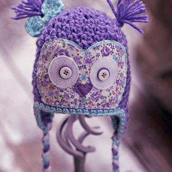 Crochet owl hat - floral applique - earflap hat