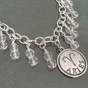 Aries Zodiac Sign Jewelry, April Birthstone Charm Bracelet, Silver Zodiac Aries