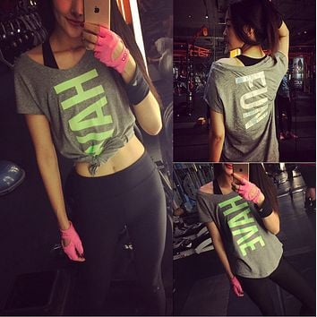 Printing large letters running fitness T-shirt