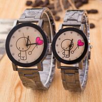 Hot Sale Watch Couple Glass Black Stainless Steel Band Balloon [4923238596]