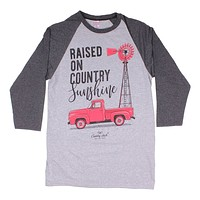Long Sleeve Raglan Country Girls Tee in Heather Grey by Simply Southern