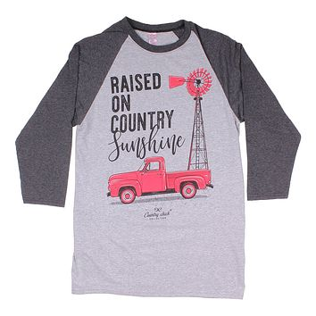 3afd3e9c1e Long Sleeve Raglan Country Girls Tee in Heather Grey by Simply S