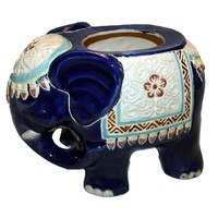 Pre-owned Vintage Glazed Ceramic Elephant Planter