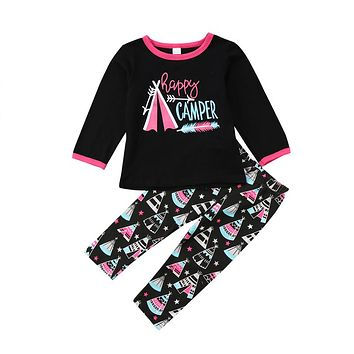 Girls Clothing Set Toddler Kids Baby Girl Summer Long Sleeve Top T-shirt Pants Leggings Outfit Clothes 2pcs Cotton Costume