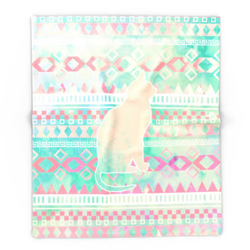 Society6 Whimsical Cat Pink Turquoise Girly Aztec Patt Blanket