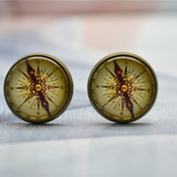Compss Cuff links,Nautical Compass Mens Cufflinks,Glass cabochon picture Cufflinks (XK13)