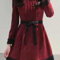Wine Red Long Sleeve Pleated Dress with Belt