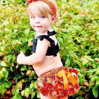 Baby Halloween Bloomers with Matching Bow Headband - Halloween Diaper Cover, Ruffle Bloomers, Orange Diaper Cover, Baby Halloween Outfit