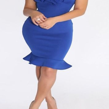 Streetstyle  Casual Blue Plain Peplum Boat Neck Off Shoulder Bodycon Homecoming Mini Dress