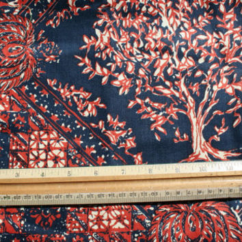 Vintage 70s Retro Sample Swatch Fabric Abstract Tree Paisley Cotton Lot of 3 Red Blue White Lime Green