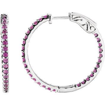 14k White Gold In & Out Pink Sapphire Hinged Hoop Earrings (2mm), 1 inch (26mm)