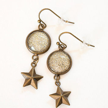 Moon and Star Sparkle Dangle Earrings , Brass Earrings, Drop Earrings, Silver Glitter Earrings