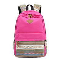 Canvas Rose Red Ethnic School Backpack Bookbag for Teen Girls