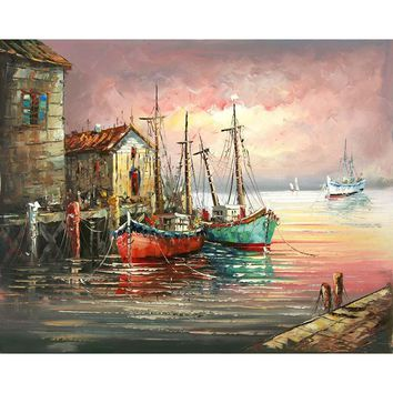 No Framed Abstract European Diy Painting By Numbers Home Decor Wall Art Picture Hand Painted Kits Acrylic Paint Sunset Sailing