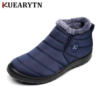 2018 New women Winter Shoes Solid Color Snow Boots Plush Inside Antiskid Bottom Keep Warm Waterproof Ski Boots Size 35-46