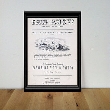 Ship Ahoy! Sheet Music {1938} Vintage Paper Ephemera