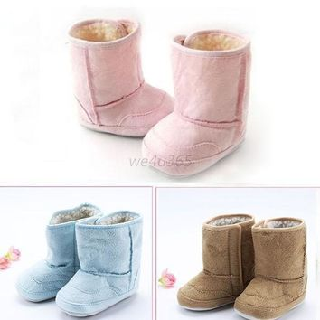 Boys Girls Baby Infant Winter Warm Snow Boots Fur Toddler Child Crib Shoes 0-18M