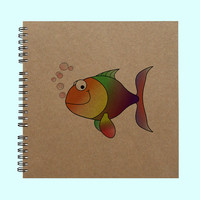 Goldfish - Book, Large Journal, Personalized Book, Personalized Journal, , Sketchbook, Scrapbook, Smashbook