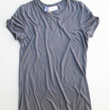 Zara Collection Mercerized Ruched Sleeved T-Shirt L