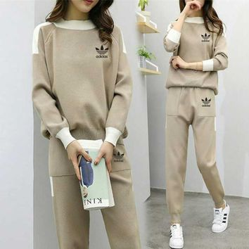 """""""Adidas"""" Women Simple Casual Letter Multicolor Knit Long Sleeve Trousers Set Two-Piece"""