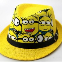 Kids Minions Jazz Hats Minion Caps Children's Trilby Hat Boys Girls Cool Dancing Felt Cap Youth Baby Fashion Headwear