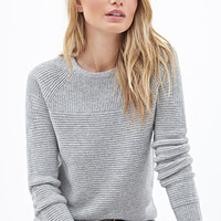 LOVE 21 Ribbed Crew Neck Sweater Heather Grey