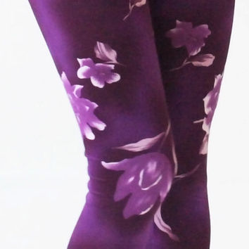 Hippie leggings, Purple Flowers printed leggings
