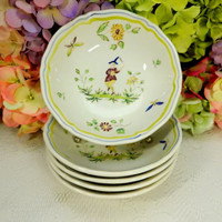 5 Vintage Longchamp French Faience Cereal Bowls ~ Moustiers