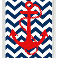 Anchor Art Print - Red Navy Blue Chevron Nautical Nursery Chlidren Baby Boy Room - Pirate Beach Wall Art Home Decor 8x10