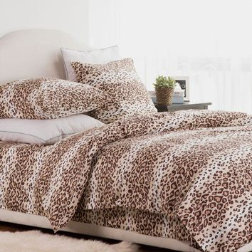 100% Cotton Bedding Set Leopard Duvet Cover Sets Soft Bed Linen Flat Bed Sheet Set Pillowcase 4PCS bed cover
