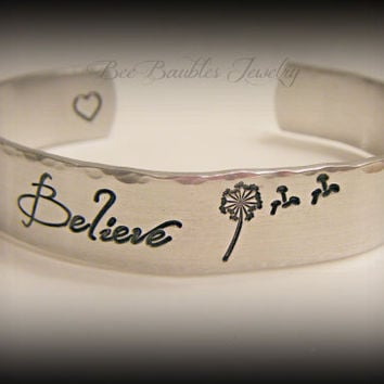 Mothers Day Gift - Hand Stamped Jewelry Aluminum Cuff Bracelet - Dandelion - Believe