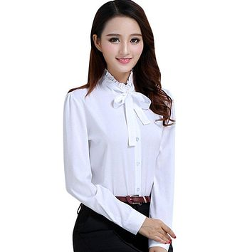 Korean Style  Women Tie White Blouse Ladies Office Work Wear Shirts Fashion Elegant Ruffles Long Sleeve Blusas Tops