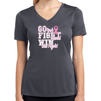 Ladies Breast Cancer T-shirt Go Fight Win Moisture Wicking V-Neck